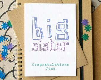 Big Sister Card - personalised big sister card - new baby card for sibling - new sibling card - newborn baby card - card for big sister