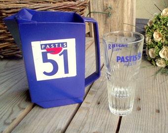 Carafe et Verre Pastis 51 - Pichet à Eau en Plastique Bleu - Verre à Pastis - Décor Bistro Rétro