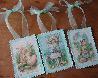 Victorian Easter gift tags package ties embellishments glittered Vintage little girls Easter postcard paper ornaments home decor shabby chic