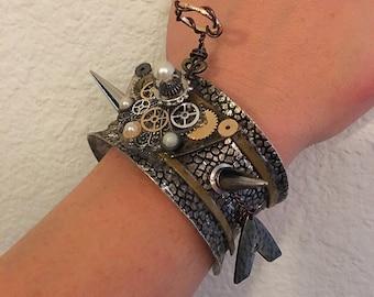 Steampunk Angel With Halo Cuff Bracelet