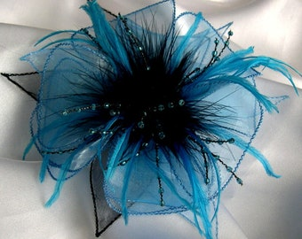 Flower brooch fabric (blue and black organza), black feathers and beads