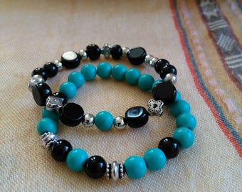 Turquoise black silver bead bracelet set bracelet stack