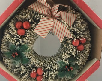 Vintage Bottle Brush Wreath in Original Box