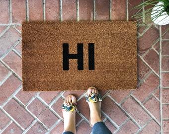 HI Doormat / Welcome Mat / Custom Welcome Mat / Housewarming Doormat / Summer Doormat / Modern Doormat / Coir Doormat / Front Door Mat /