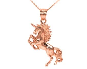 14k Rose Gold Unicorn Necklace