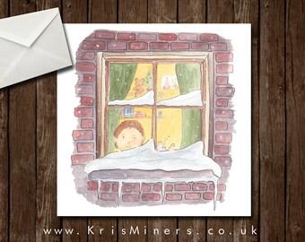 Little Boys Whimsical Christmas Eve Greetings Card - Christmas Eve