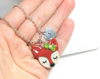 Fox jewelry, Fox necklace, Little girl necklace, Personalized girl, Kawaii fox necklace, Fox pendant, Fox birthday, woodland fox, fox gift
