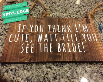 """Wood, Vinyl & Rope """"Here Comes the Bride"""" custom sign, for ring bearers, wedding ceremony or bridal party. Customize your sign! [WED0001]"""