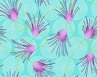 1/2 Yard - Allusions Azure, Cosmos, Dan Bennett, Rowan, Westminster Fibers, , quilting cotton, fabric sale, Aqua Blue, Purple,