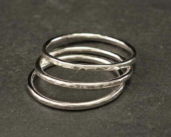 Sterling Silver Stacking Ring Set - Stackable Rings- Silver Stacking Rings Set-Thin Hammered Bands-Silver Hammered Rings