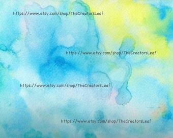 "Instant Digital Download of Blue Watercolor, 8"" x 10"", Printable"