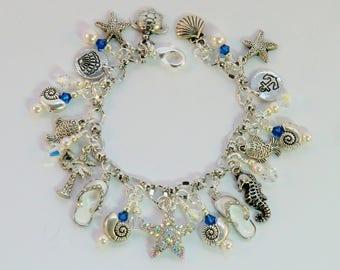 SALE! Rhinestone starfish beach charm bracelet, blue zircon silver, palm tree, sandals, fish, shells, starfish, turtle, seahorse, ocean sea