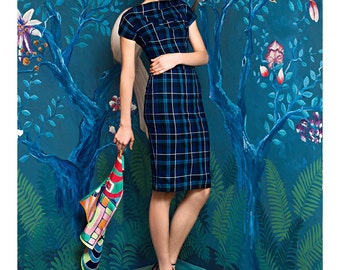 Tartan Day Dress with Short Sleeves | GRANDI