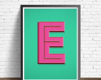 Printable Poster - Personalized Big Letter Print - Retro Typography - 8. x 10 Poster - Typography Poster - Custom Wall Art - Initial Print