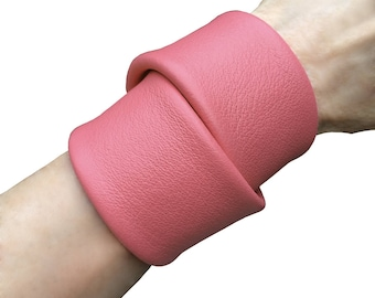 Wide leather cuff Double wrap cuff Chunky bracelet Accessories for women Gift for him Preppy Wrap bracelet Leather wrap Pink leather cuff