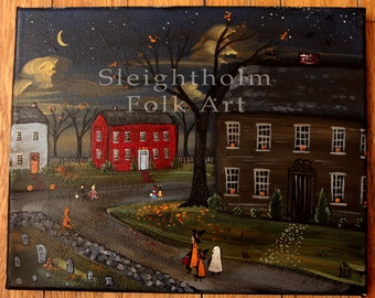 ORIGINAL Trick or Treat Folk Art painting 8x10