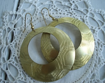 Vintage Textured Gold Hoops Dangle Earrings 1960's Bohemian Tribal Native Inspired