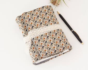Travel Journal - Fabric Journal with Brown Floral Fabric - Great Gift for Traveler