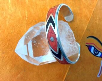 Red Coral Black Onyx Gemstone Mosaics Bangle Sterling Silver