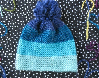 Crochet Pompom Hat, Color Block Hat, Kids Crochet Hat, Crochet Baby Hat, Blue Hat, Multi-Colored Hat, Winter Hat,  Baby Shower Gift