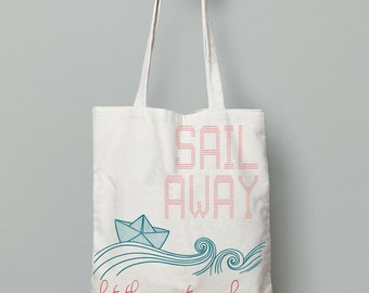 Paper boat bag, tote bag canvas beach, summer tote bag, Canvas tote, printed tote bag, Reusable Bag, beach bag tote, quote tote bag, tote