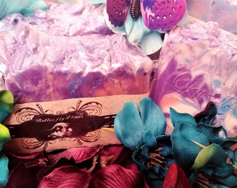 Butterfly Flower  Handmade Cold Process Soap, Handmade Soap, Bar Soap, Women's Soap