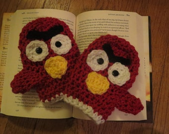 Mad Bird Mittens/Mittens/Child Mittens/Toddler Mittens/Teen Mittens/Adult Mittens/Crochet/Crochet Mittens