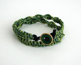 Macrame Friendship Bracelet in Green with Button Clasp and Black Leather - Linda Bracelet
