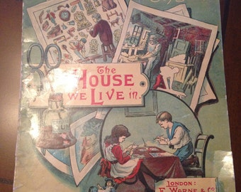 Antique Vintage Children's Picture Puzzle Toy Book The House We Live In