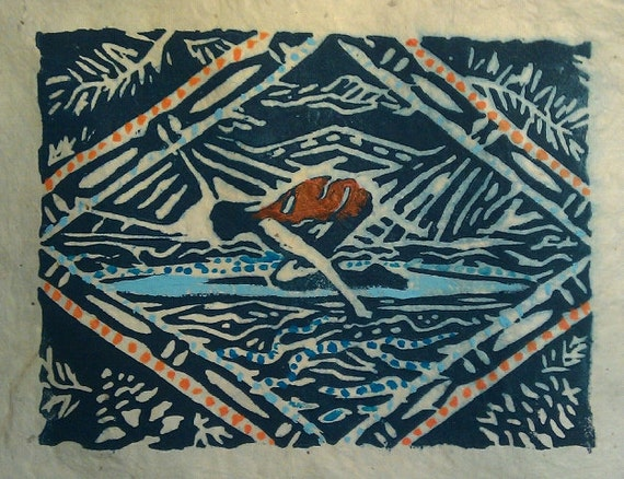 Lake Paddler 5 x 7 lincout card
