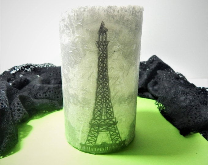 Decoupage candle,paris candle.essential oil candle