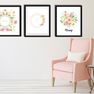 3 Custom Prints With Names And Initial Nursery Art Print Feminine  Personalized Wall Art Home Decor