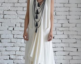 SALE White Long Dress/Asymmetric Maxi Dress/Sleeveless Loose Kaftan/Casual White Dress/Summer Oversize Tunic/Plus Size Dress by METAMORPHOZA