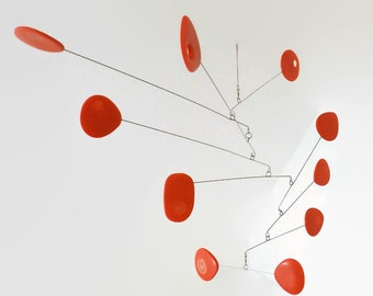 Modern Mobile Modern Orange Kinetic Mobile, Calder Style, Hanging Mobile, Mid Century