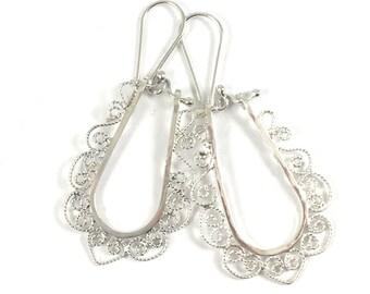 Artisan Filigree Sterling Silver Hoop Earrings