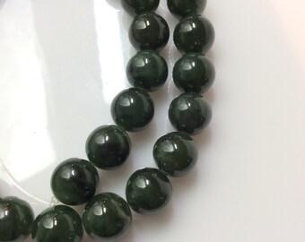"""Green Jade 10mm Round Beads, 12"""" strand, 30 beads"""