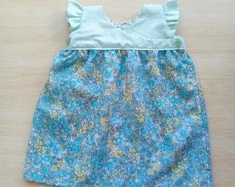 Green & Blue Floral Baby Girls Wrap Dress, Summer Dress, 0-3 months, Baby Shower Gift
