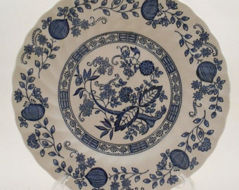 Blue Onion Plate - Myott Meaking – Staffordshire England - Hand Engraved 19.5 cm