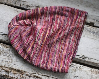 Pink, striped hat, winter hat, slouchy hat, slouch, fall hat, upcycled, gift, stretch, kids, adult, gift for her  him sweet olive couture