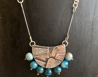 Recycled Sterling Silver and Apatite Textured Pocket Necklace
