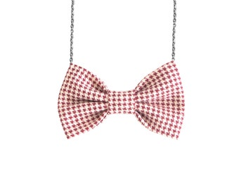 Red Hounds-tooth Bow Tie Necklace, Red White Bowtie Women Geometric Pattern Bow Accessory