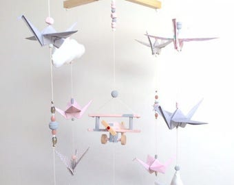 Baby Pink and gray wood and origami mobile