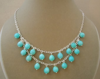 Dionysus -- One of a Kind -- Natural Peruvian Blue Amazonite Drop + Sterling Silver Necklace