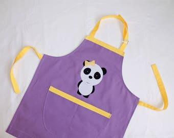 Kitchen apron, panda, lilac and yellow cotton adjustable, 3/8 years