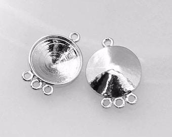 6pcs--Settings Antique Silver for Rivolis 14mm, (B44-21)