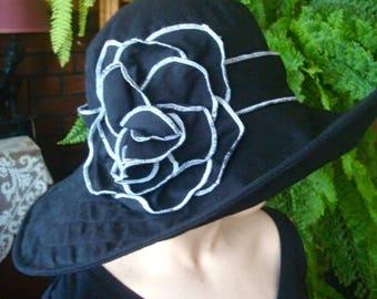 womens hats summer sunhat travel hat black white cotton preloved wide brim
