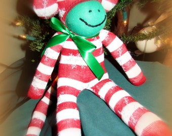 Christmas Sock Monkey Doll Handmade Candy Cane Stripe