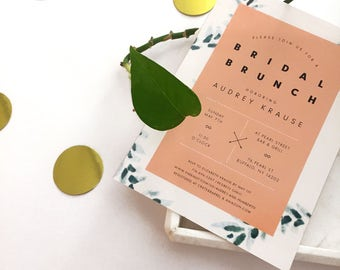 Hand-painted Hipster Bridal Brunch Invites