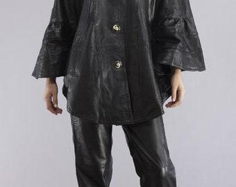 Stylish Leather Cape Jacket - Black