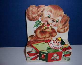 Vintage Unused Christmas Card, Pop Up Card, Puppy Dog with Jack in the Box , Fold Out, 3D, 1950's Children's Greeting Card